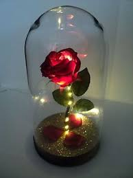 rose in glass beauty and the beast inspired light up enchanted rose in glass dome