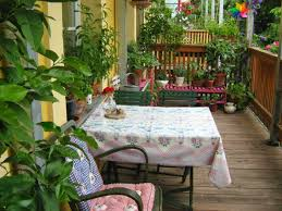 create your own balcony garden design ideas floral tablecloth and