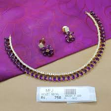 necklace with purple stone images Cz violet stones necklace set online jpg