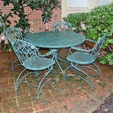 Wrought Iron Patio Tables Green Wrought Iron Patio Set Ebth