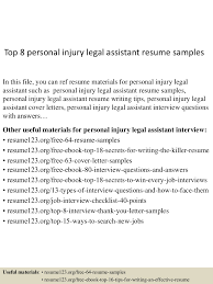 Best Paralegal Resume by Personal Injury Paralegal Resume Sample Free Resume Example And