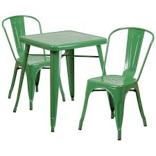 Indoor Bistro Table And 2 Chairs Square Green Metal Indoor Outdoor Table Set With 2 Stack Chairs