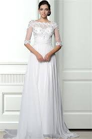 sheer sleeve wedding dresses a line scalloped neck sheer back chiffon lace beaded wedding dress