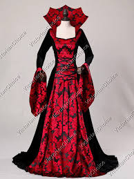 Red Witch Halloween Costume Gothic Renaissance Velvet Red Queen Dress Gown Game Thrones