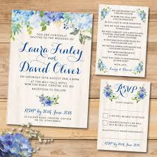 wedding invitation set blue floral watercolour wedding invitation set elisa by design