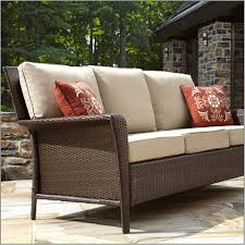 Roof For Patio Decor Brown Bench With White Outdoor Replacement Cushions And Red