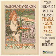 the library will be closed for thanksgiving