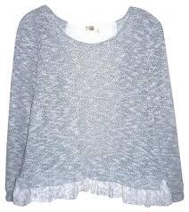 bird blouse anthropologie gray white lace trim knit bird cage label gray white