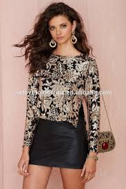 newest design sleeve sequin top high low silhouette
