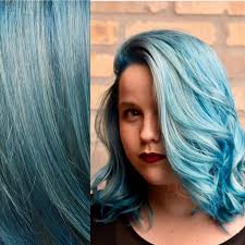 aqua blue powder blue pastel blue balayage ombre highlights on