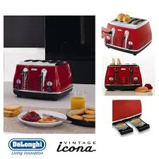 Delonghi Icona 4 Slice Toaster Black Delonghi Icona Retro 4 Slice Scarlet Red Toaster Cto4003r Uk