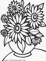 flower coloring pages printable cute flowers glum