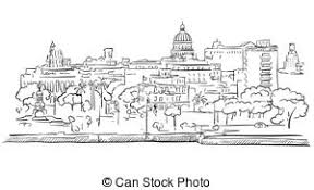 vectors illustration of vancouver downtown panorama outline sketch