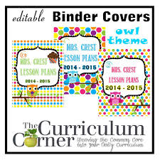 editable owl themed binder covers the curriculum corner 123