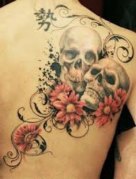 collection of 25 skull with flowers tattoos