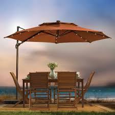 11 Patio Umbrella 11 Foot Ft Umbrella Cantilever Tilting Offset Solar Led