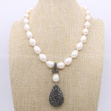 big pearls necklace images Natural pearl handcrafted druzy necklace big pearls black drop jpg