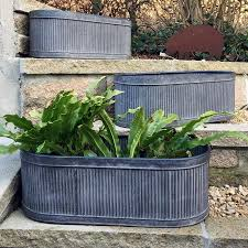 Garden Wall Troughs by Victorian Vintage Vence Window Box Large Galvanised Fluted