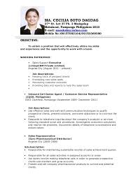 Call Center Resumes Sample Resume For Call Center Agent Without Experience Philippines