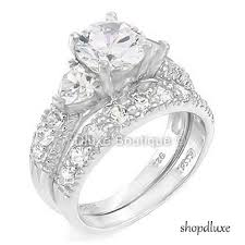 bridal ring set 4 05 ct three sterling silver wedding engagement ring set on