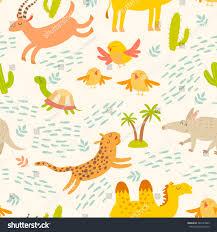 cartoon african animals seamless pattern cute stock vector