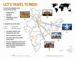 india landmarks worksheets geography and india