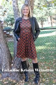 lularoe amelia dress ready for the fall season with boots and a