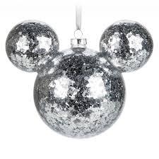 mickey mouse icon glass ornament silver confetti shopdisney