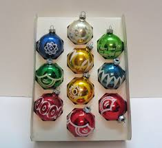 10 vintage christmas tree glass ornaments by noelle usa hand