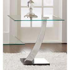 Tall Glass Table Amazon Com Contemporary Modern And Elegant Kendal Chrome And
