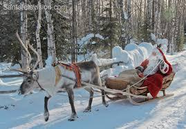 photo santa claus in reindeer sleigh in finnish lapland u2013 santa
