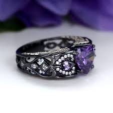unique engagement rings for women amethys heart ring black and purple unique engagement ring for