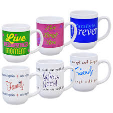 bulk stoneware mugs with inspirational sayings 14 oz at