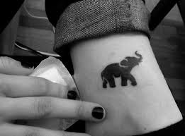 black tribal small elephant tattoo on the ankle for girls resa
