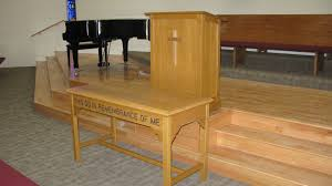 Handcrafted Wood Tables Handmade A Church Communion Table And Pulpit By Tom U0027s Handcrafted