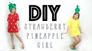 Halloween Costumes T Shirts by Halloween Diy Costume Strawberry U0026 Pineapple Ann Le Youtube
