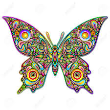 butterfly psychedelic design royalty free cliparts vectors