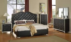 Glam Black Crystal Tufted Leather Bed Modern Bedroom Furniture - Bordeaux 5 piece queen bedroom set