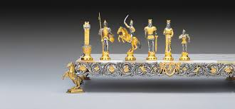 carlomagno charlemagne gold and silver theme chess set