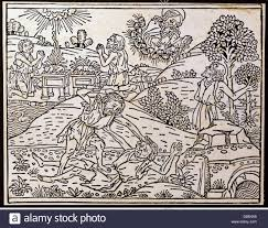 religion biblical scenes cain and abel woodcut