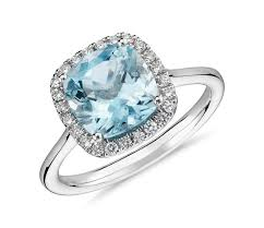 aquamarine and diamond ring aquamarine and diamond halo ring in 14k white gold 8x8mm blue nile