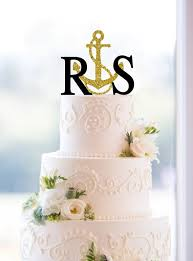 nautical wedding cake topper gold cake topper glitter cake topper