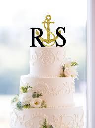 cake topper initials nautical wedding cake topper gold cake topper glitter cake topper