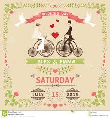 Vintage Wedding Invitation Card Wedding Invitation With Bride Groom Retro Bicycle Floral Frame