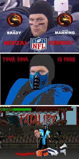 Peyton Manning Tom Brady Meme - tom brady vs peyton manning gets the mortal combat treatment