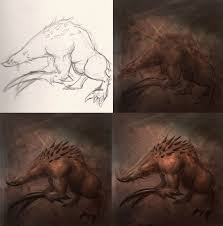 how to draw monster art concept drawing and digital painting
