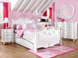 furniture girls bedroom with white polished wooden bed and