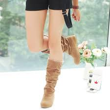 womens calf boots sale usa womens autumn winter slouchy mid calf boots lace cuff