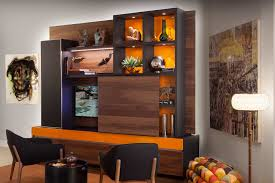 custom wall units bookcase entertainment media center dry bar