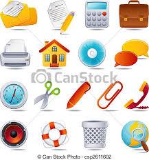 bureau icône ensemble bureau illustration vecteur